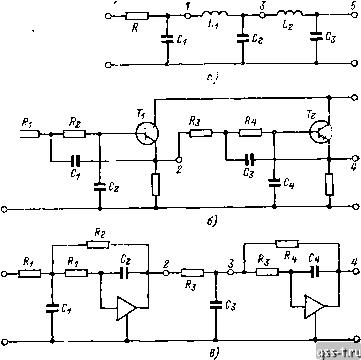 29,а показана схема пассивного П-образного индуктивно-емкостного фильтра нижних частот.  Точками 3, 5 обозначены...